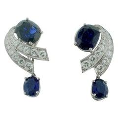 Sapphire and Diamond Platinum Earrings circa 1940s 7.10 Carat of Sapphire