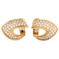 Van Cleef & Arpels Diamond Yellow Gold Omega Back Earrings