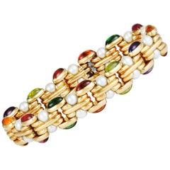 Bulgari Multi Gemstone Cabochons and Pearls Yellow Gold Bracelet