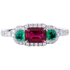Leon Mege Ruby and Cab Emeralds in Micro Pave Platinum Bespoke Right-Hand Ring
