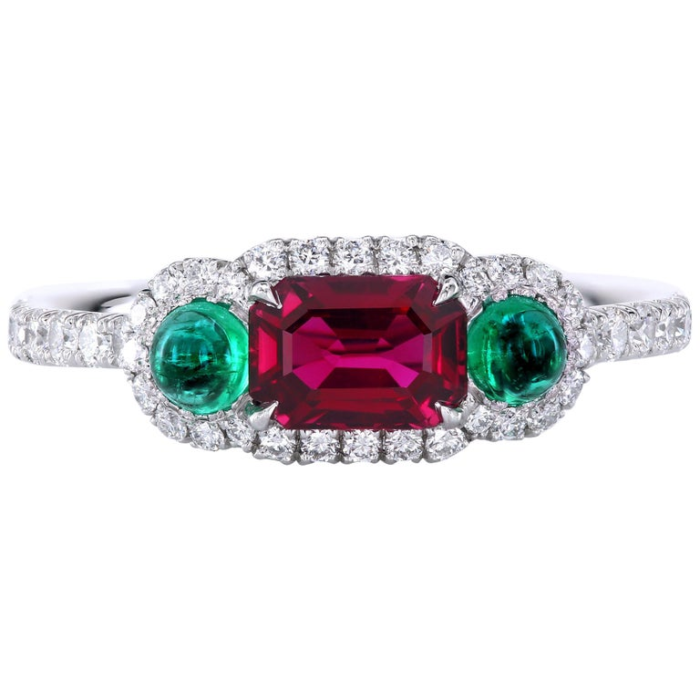 Leon Mege Ruby and Cab Emeralds in Micro Pave Platinum Bespoke Right-Hand Ring For Sale