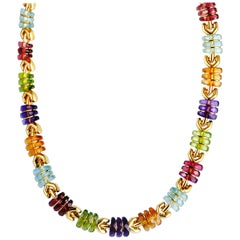 Bulgari Multi Gemstone Yellow Gold Collar Necklace