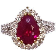 EGL Certified 18 Karat White Gold Pear Cut Ruby and Diamond Ring