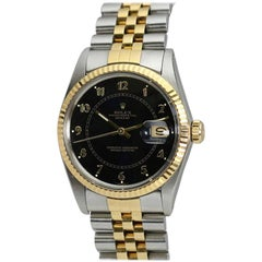 "Rolex Datejust Ref 16013 SS and Gold with Black ""Boiler Gauge"" Dial, circa 1984"