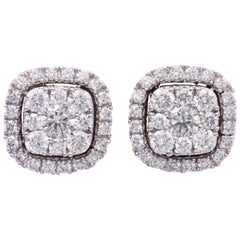 1.00 Carat Diamonds White Gold Cluster Stud Earrings