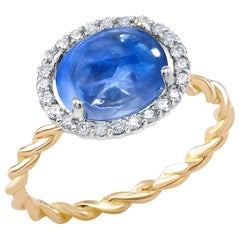 Ceylon Cabochon Sapphire and Diamond White and Yellow Gold Cocktail Ring