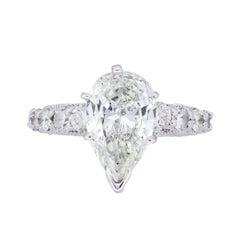 2.39 Carat Pear Shape Diamond Engagement Ring
