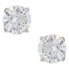 4.01 Carat Total Weight Round Brilliant Diamond Stud Earrings