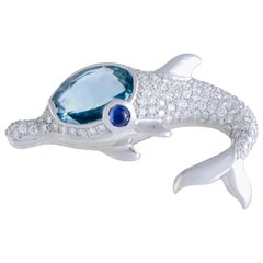 Bulgari White Gold Diamond Pavé, Aquamarine and Sapphire Dolphin Brooch