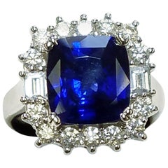 GIA Certified 18 Karat White Gold Cushion Cut Sapphire and Diamond Ring