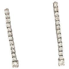 14 Karat White Gold 1 Carat Diamond Dangle/Drop Earrings SI1/H
