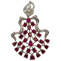 18 Karat White Gold Fancy Ruby and Diamond Earrings