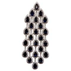 18 Karat Weißgold Tropfenschliff Saphir und Diamant Ohrringe