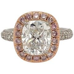 Platinum Ring Natural 3.01 Carat Cushion Diamond GIA D SI1 with Pink Diamonds