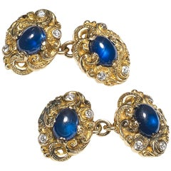 Sapphire and Diamond Carved Gold Cufflinks