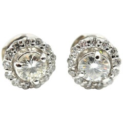 Round Brilliant Diamond Stud Earrings with Diamond Jackets 14 Karat White Gold
