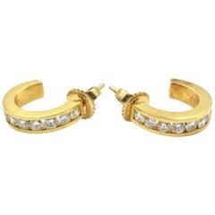 0.98 Carat Diamond Huggie Style Hoop Earrings 18 Karat Yellow Gold
