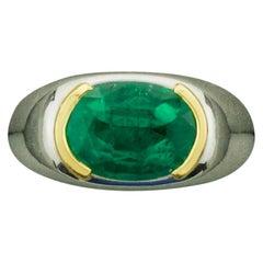 Gents or Ladies Emerald Ring in Platinum and 18 Karat Yellow Gold 4.25 Carat