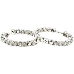 3.00 Carat Round Diamond Inside/Outside 14 Karat White Gold Hoop Earrings