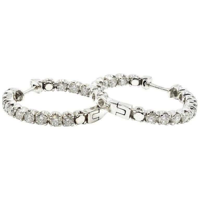 3.00 Carat Round Diamond Inside/Outside 14 Karat White Gold Hoop Earrings For Sale