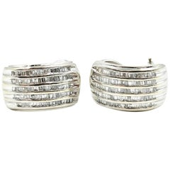 Diamond 14 Karat White Gold Huggie Earrings