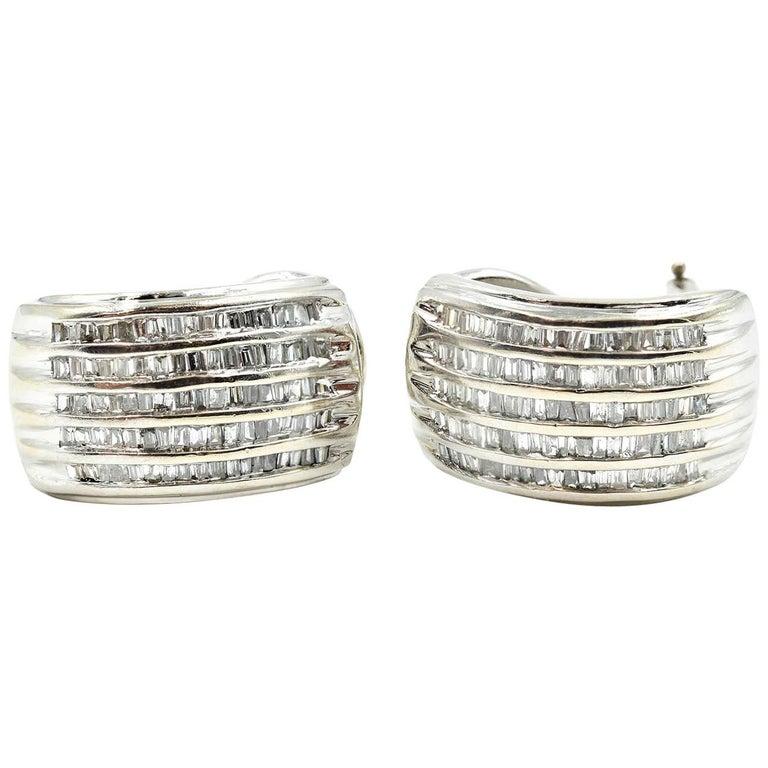 Diamond 14 Karat White Gold Huggie Earrings For Sale