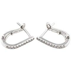 "0.12 Carat Diamond 14 Karat White Gold ""U"" Huggies Earrings"