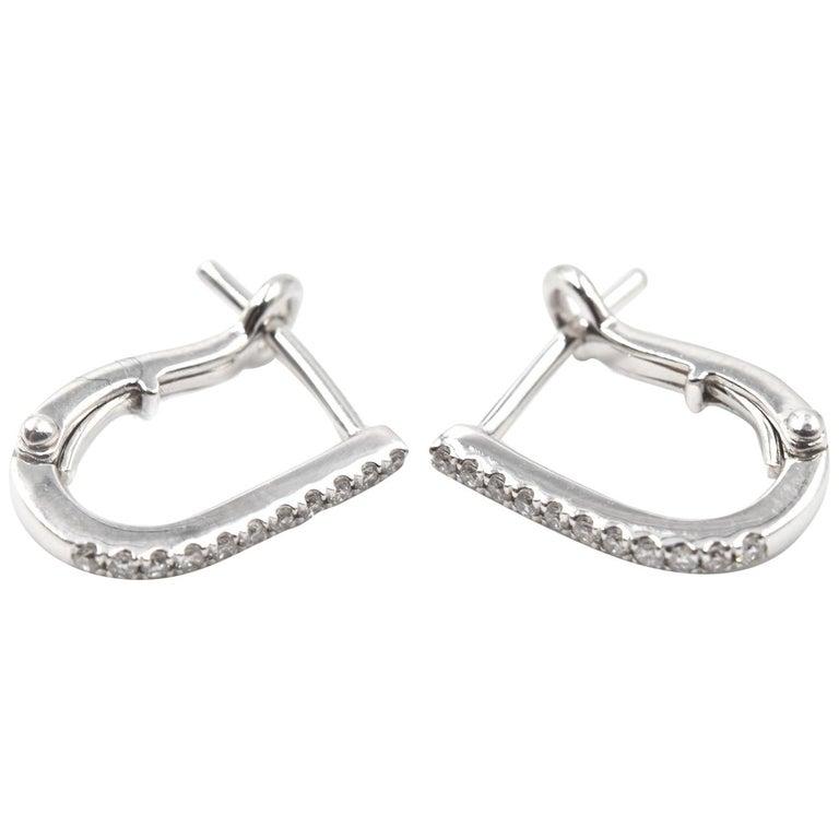 "0.12 Carat Diamond 14 Karat White Gold ""U"" Huggies Earrings For Sale"