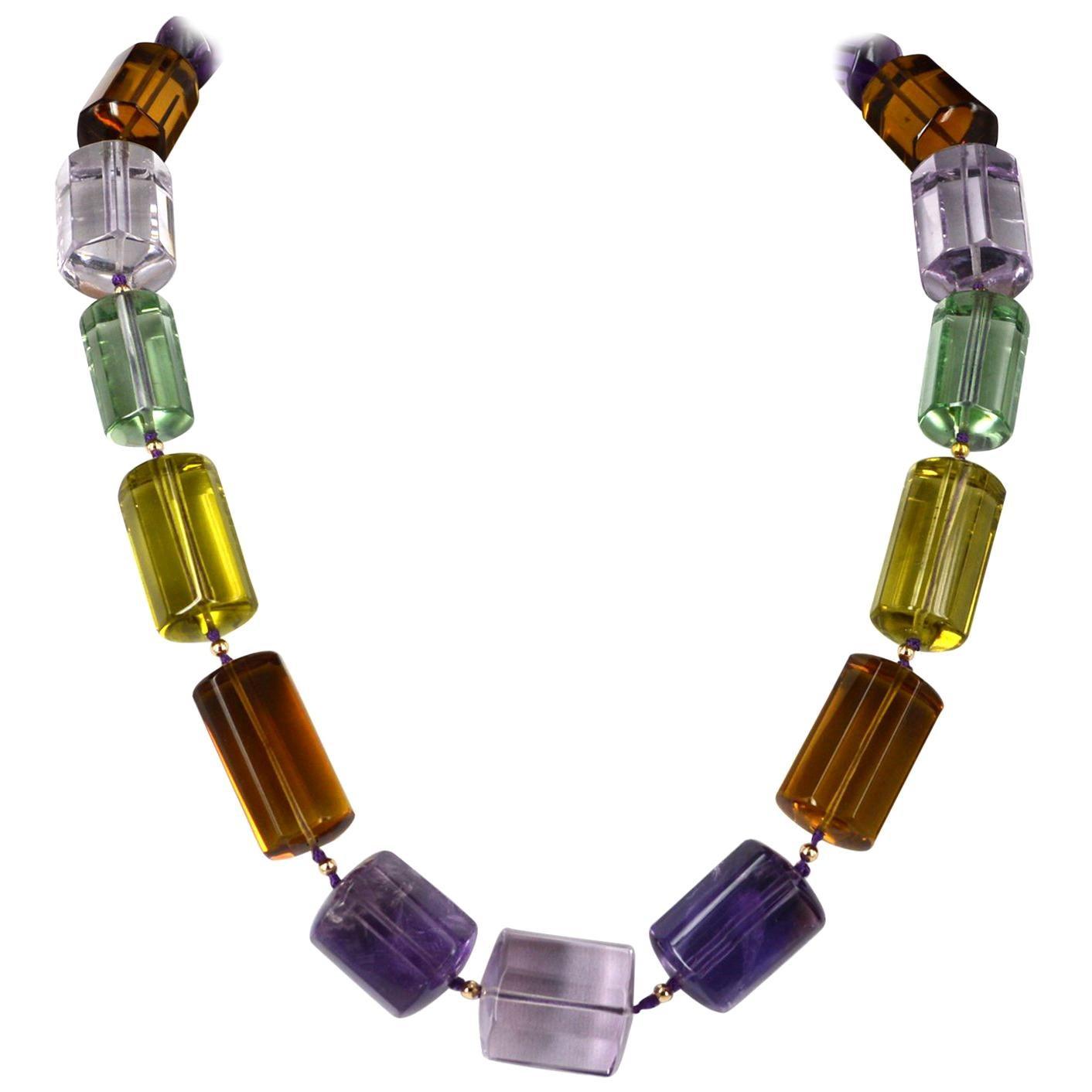 One off Statement Amethyst, Prasiolite Lemon and Beer Quartz Gold Necklace