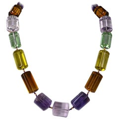 One off Statement Amethyst, Prasiolite Lemon and Beer Quartz Gold Necklace