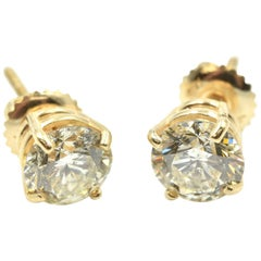 14 Karat Yellow Gold Round Brilliant 1.87 Carat Diamond Studs
