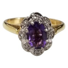 18 Karat Amethyst and Diamond Ring
