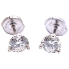 1.60 Carat Round Brilliant 14 Karat White Gold Diamond Martini Stud Earrings