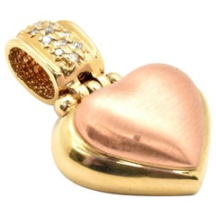 14 Karat Yellow and Rose Gold Heart Pendant with Diamonds