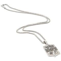 14 Karat White Gold 1.10 Carat White/Cognac Diamond Flower Pendant Necklace