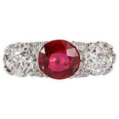 "Art Deco 3.02 Carat ""No Heat"" Ruby and Old European Cut Diamond Ring"