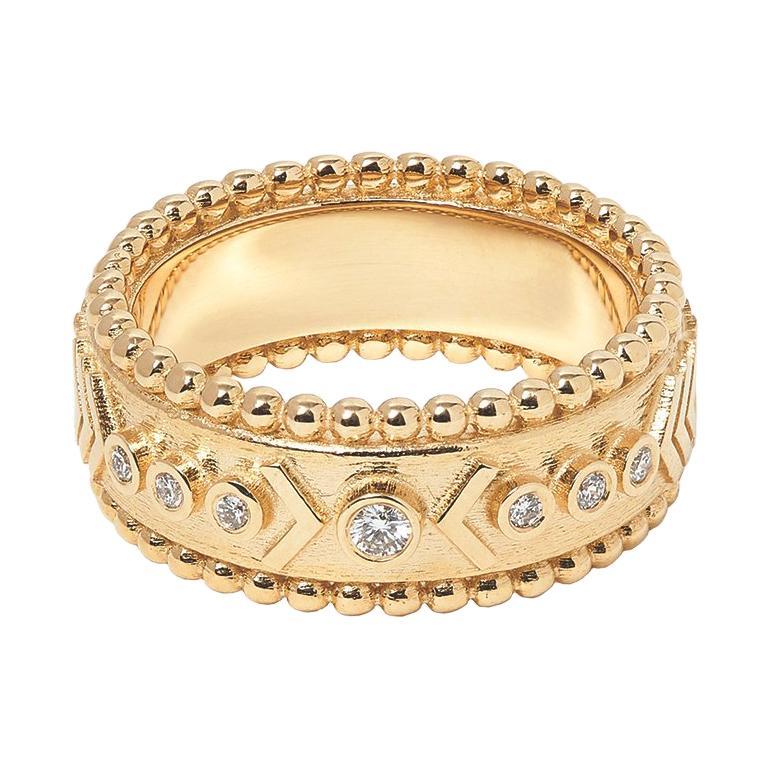 Marlo Laz 14 Karat Yellow Gold Arrow Protection Motif Southwestern Band Ring For Sale