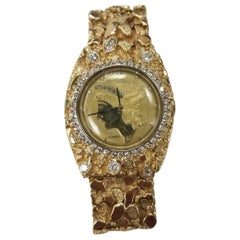"14 Karat Gold Men's ""Nugget"" Bracelet and Diamond ""Louvrex"" Watch"