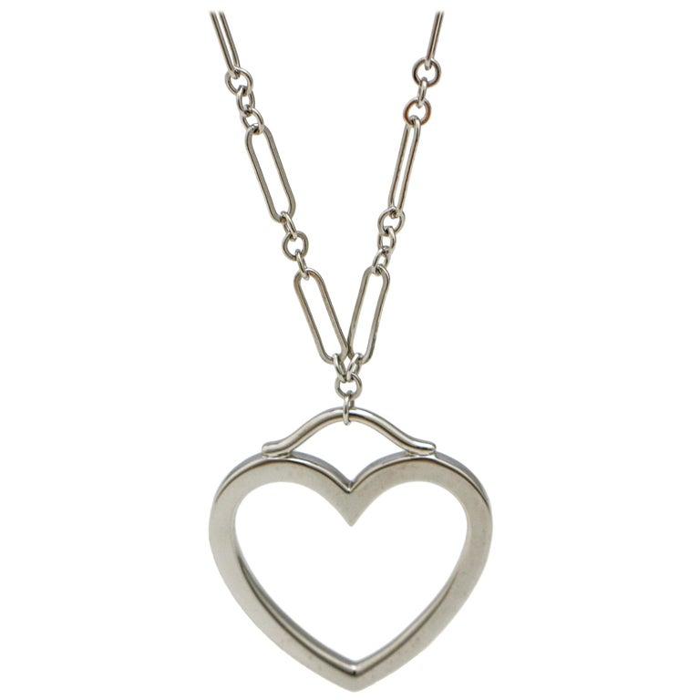 Tiffany & Co. 18 Karat White Gold Heart Pendant Necklace For Sale
