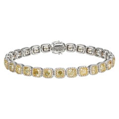 Fancy Yellow Diamond Bracelet in 18 Carat White and Yellow Gold
