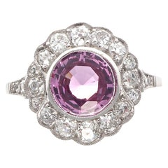 Natural No Heat Pink Sapphire Diamond Platinum Engagement Ring