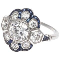 Art Deco Revival 1.13 Carat Diamond Sapphire Platinum Ring