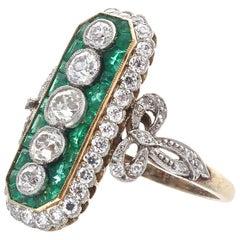 Art Deco Revival Diamond Emerald Platinum Ring