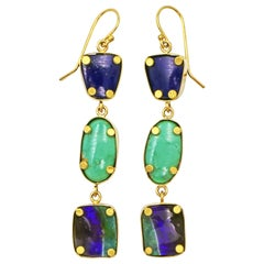 3-Tier Lapis Lazuli, Turquoise and Boulder Opal Gold Dangle Earrings
