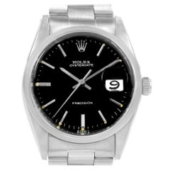 Rolex Oysterdate Precision Black Dial Steel Vintage Men's Watch 6694