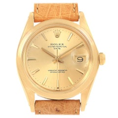 Rolex Date 18 Karat Yellow Gold Brown Strap Vintage Men's Watch 1500