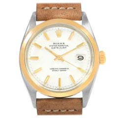Rolex Date Vintage Steel Yellow Gold White Dial Men's Watch 1600