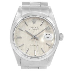 Rolex Oysterdate Precision Silver Linen Steel Vintage Men's Watch 6694
