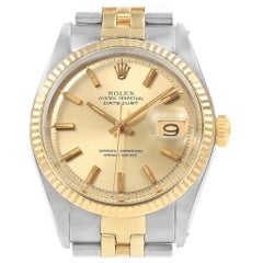 Rolex Datejust Steel Yellow Gold Vintage Men's Watch 1601 Box Papers