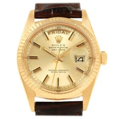 Rolex President Day-Date 18 Karat Yellow Gold Brown Strap Men's Watch 1804
